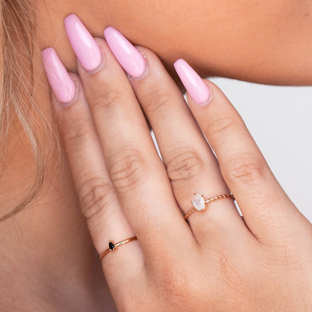 Core Moonstone Ring on model - rose gold
