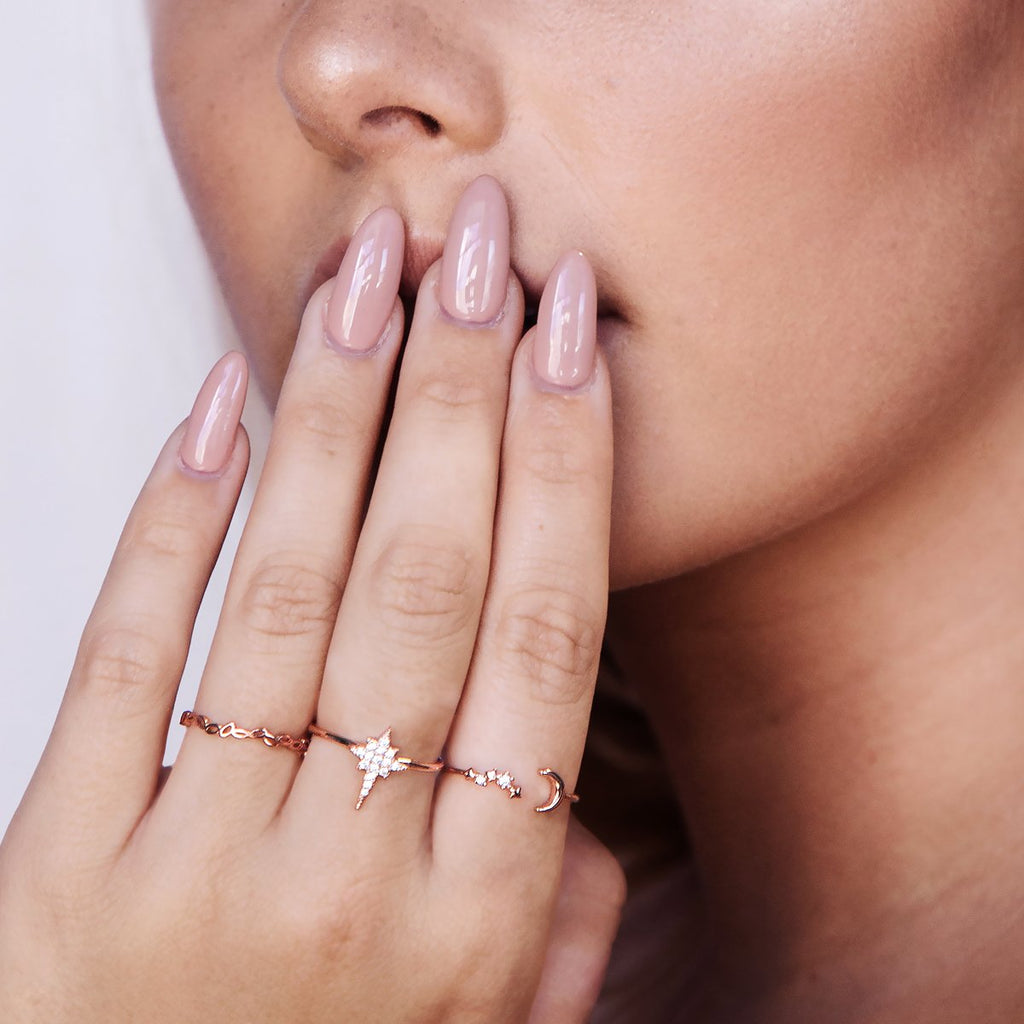 Flare Sparkle Star Ring on model - rose gold