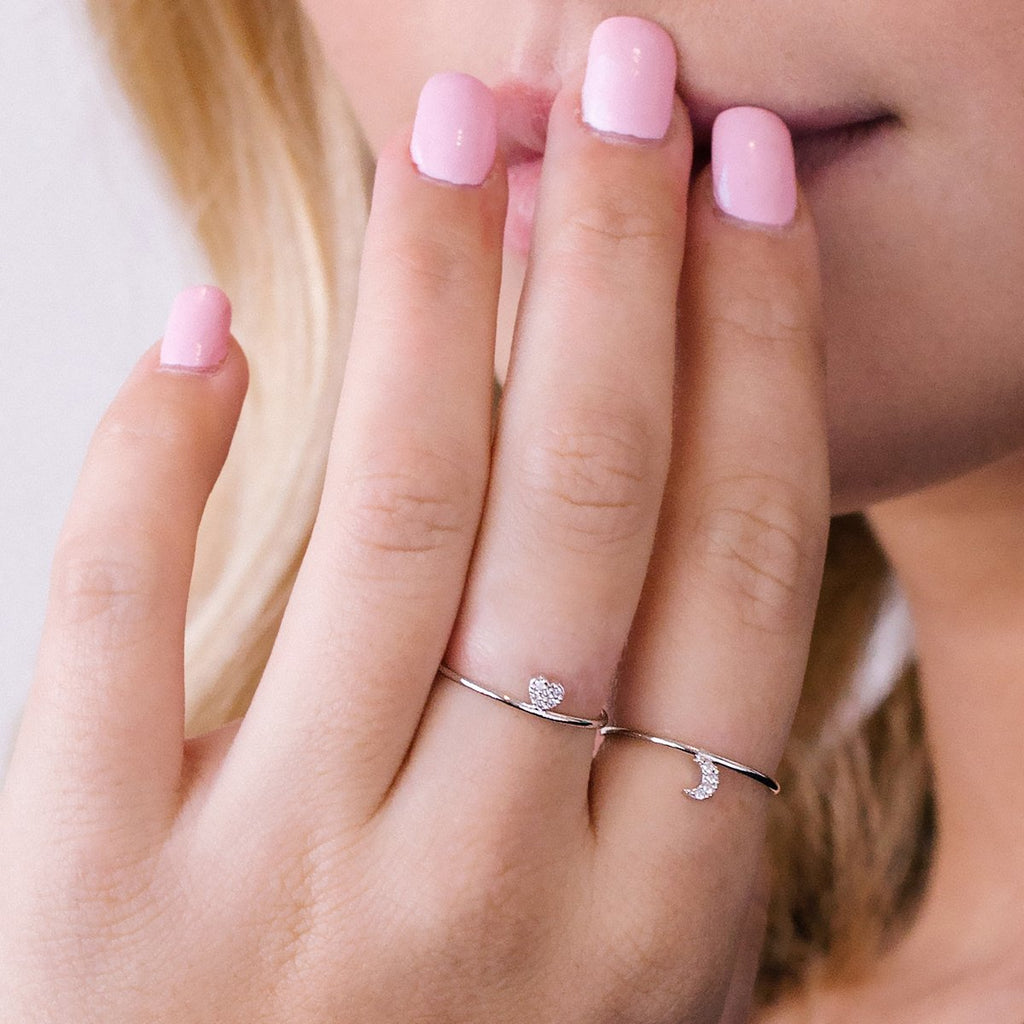 Love Song Heart Ring on model - silver