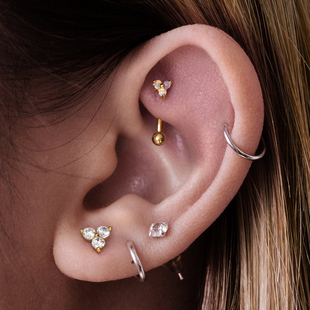 Sin Opal Daith & Rook Piercing on model - gold