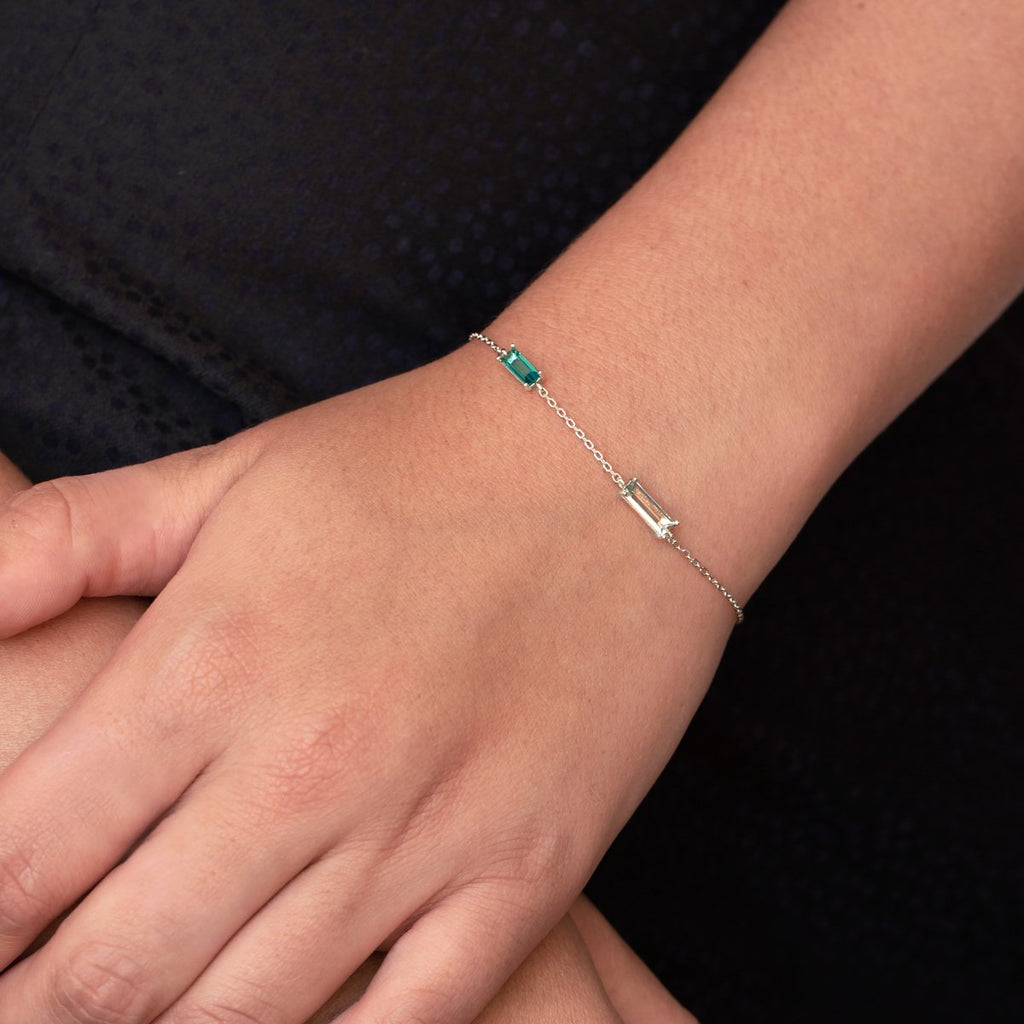 Polaris Baguette Gemstone Bracelet on model - sterling silver