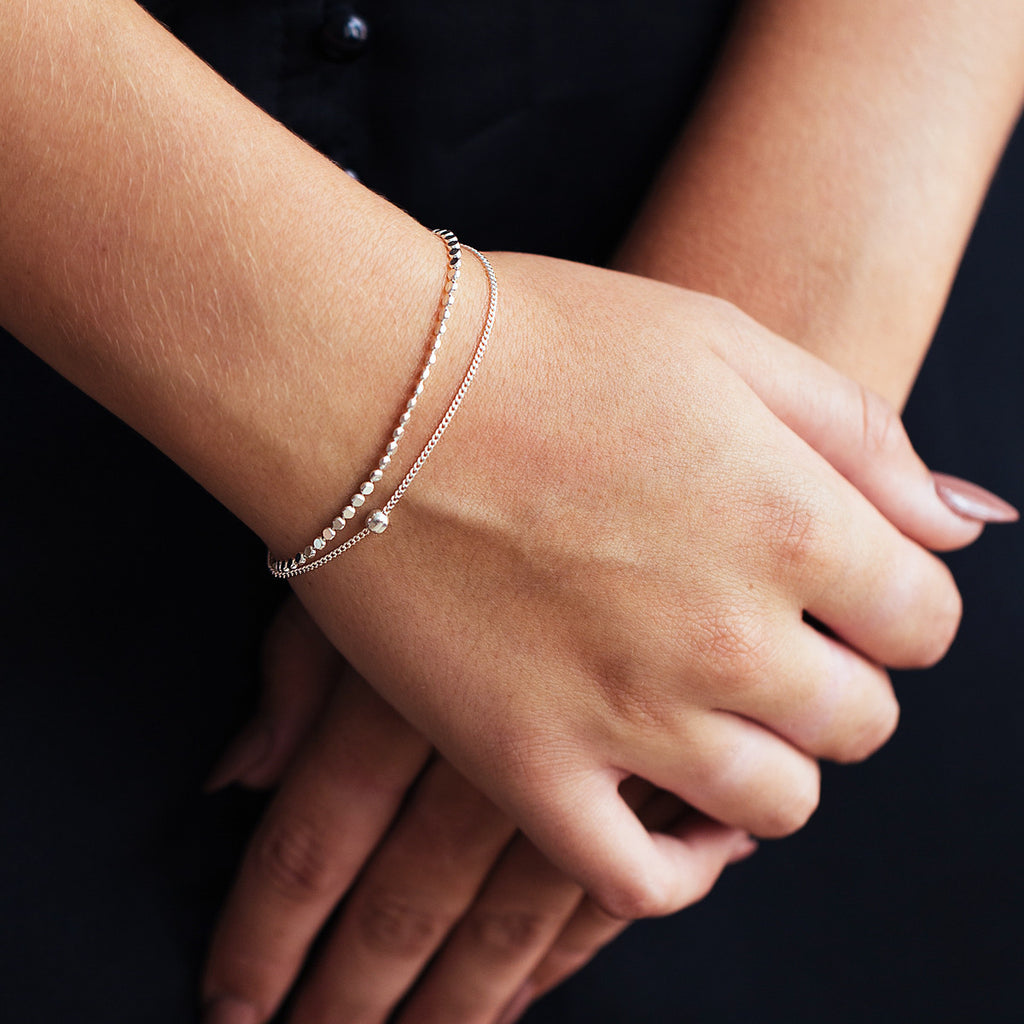 Chicago Double Layer Bracelet on model close up - silver