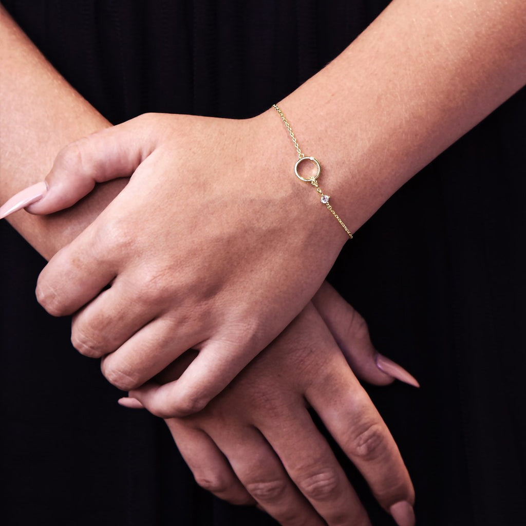 Soul Gem & Halo Bracelet on model - gold