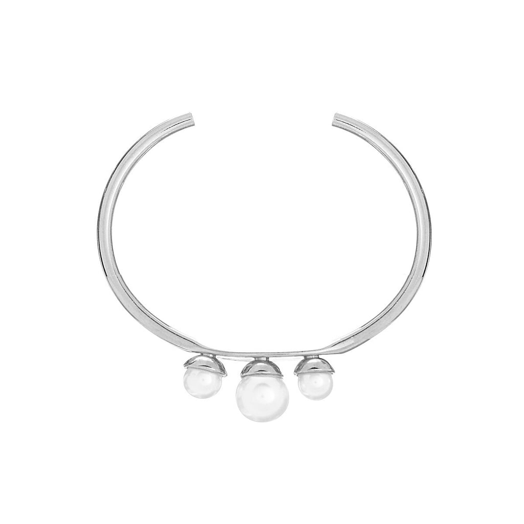 Trio Pearl Bangle - Silver