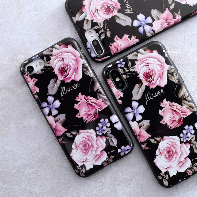 Pink and purple flowers iPhone Case Cover