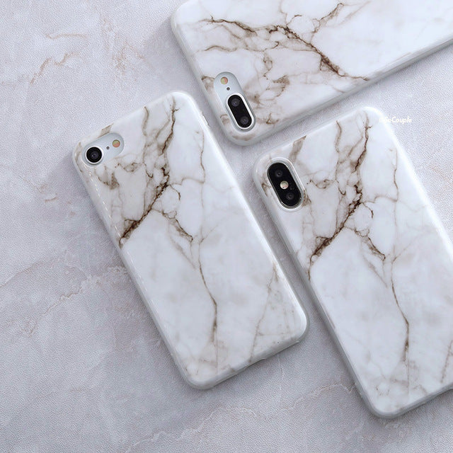 White and Brown Marble iPhone Case - Epik Case