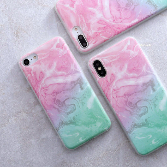 Aqua and Pink Granite - Marble iPhone Case Cover