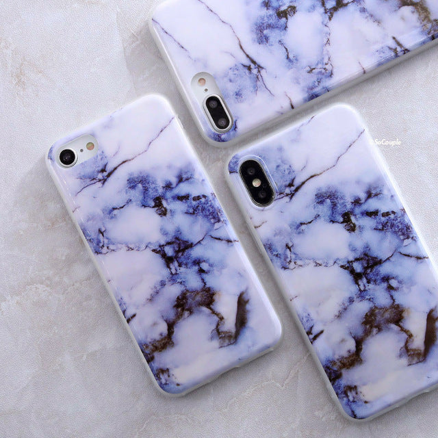 White and Violet Marble iPhone Case - Epik Case