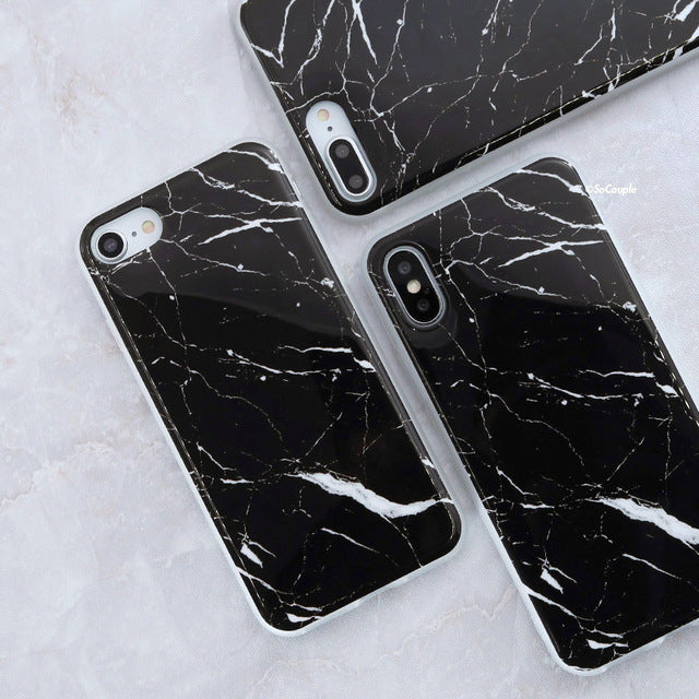 White and Black Granite - Marble iPhone Case Cover
