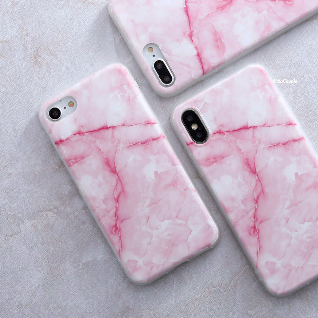 White and Pink Granite - Marble iPhone Case Cover