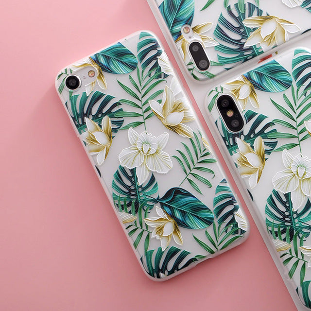 White Flowers Green Leaves iPhone Case - Epik Case