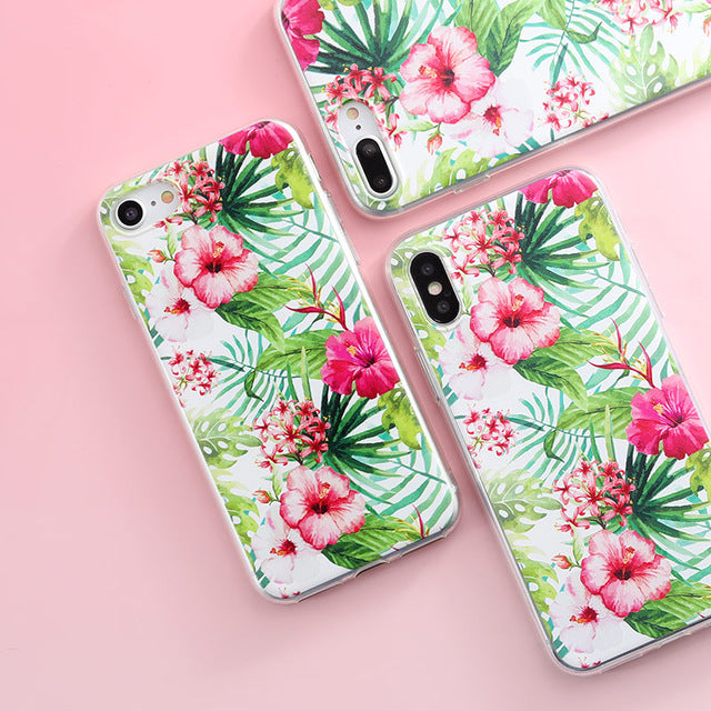 Red Flowers Green Leaves iPhone Case - Epik Case