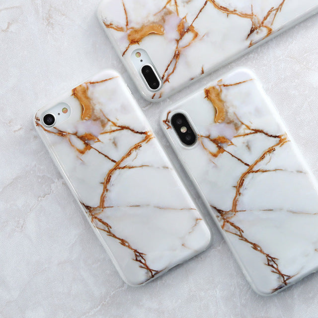 White and Gold Granite - Marble iPhone Case Cover
