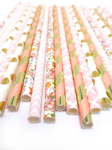 100/PK Floral Blush Golden Paper Straw Mix