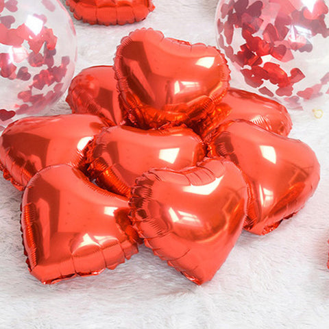 10/PK Red Heart Foil Balloons