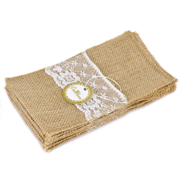 100/PK Lace & Burlap Cutlery Holder