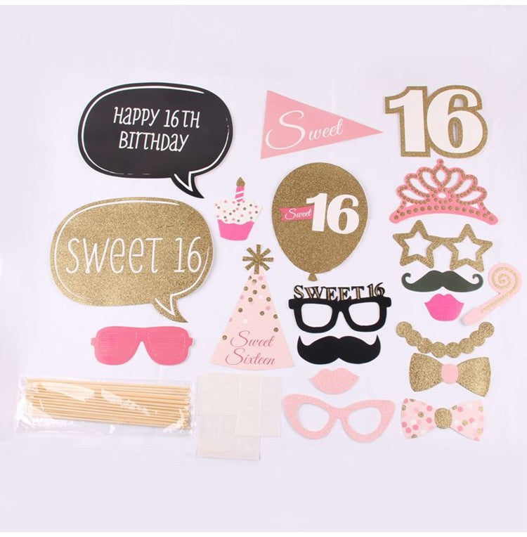 20pk Sweet 16 Birthday Party Photo Booth Props Premium Party Shop