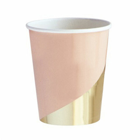 8/PK Gold and Pink Chic Disposable Cups