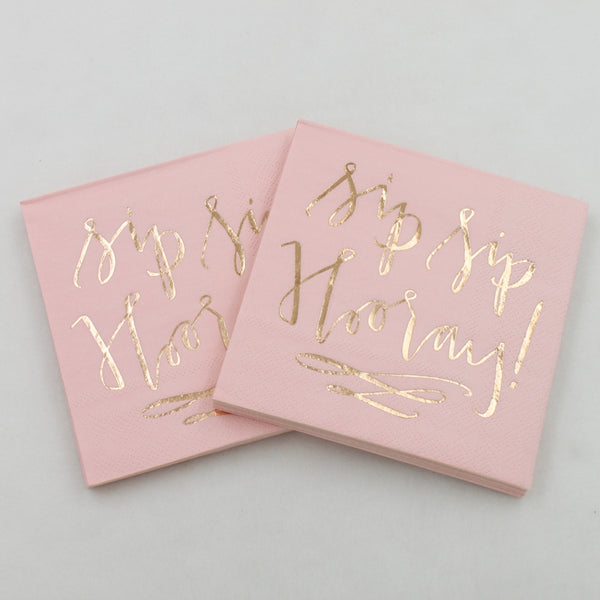 Sip Sip Hooray Gold Foil Napkins