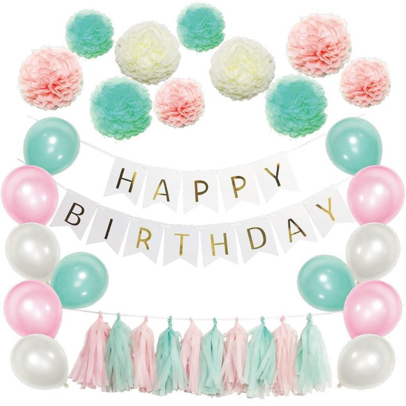 40 Piece Happy Birthday Banner, Pom Pom, and Balloon Decor Bundle