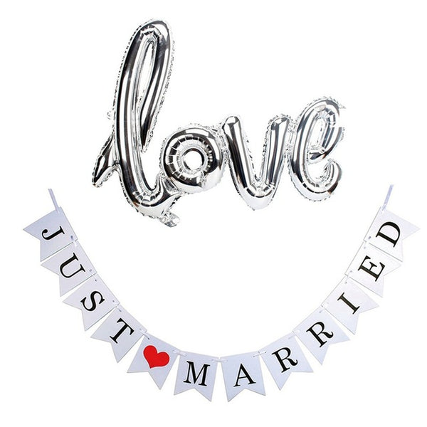 """love"" Foil Balloon and Just Married Banner Bundle 