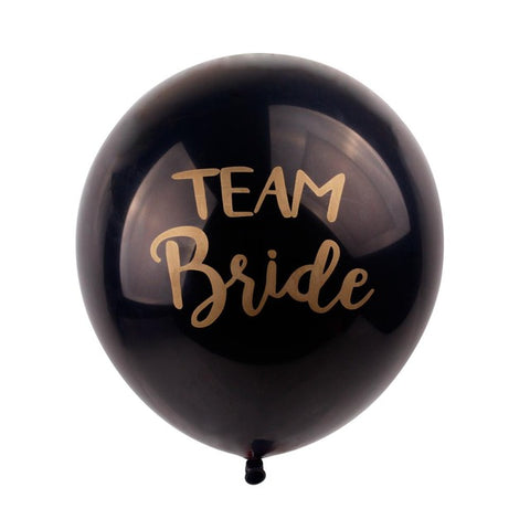 10/PK Black and Gold Team Bride Latex Wedding Balloons