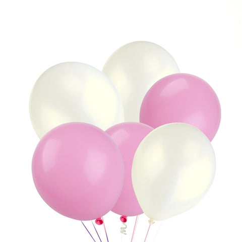 50/PK Pink & White Round Decorative Balloons