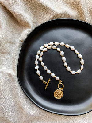 Freshwater Pearl Necklace with Medallion | Gold filled jewelry danielajanette.com