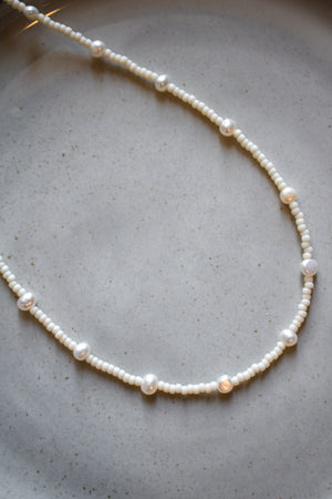 White Seed + Pearl Necklace