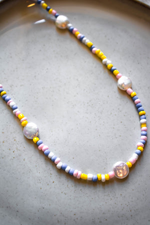 Colorful Seed beads + Pearl Necklace