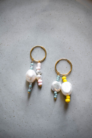 Mismatched Pearl and Seed Bead Hoops | danielajanette.com