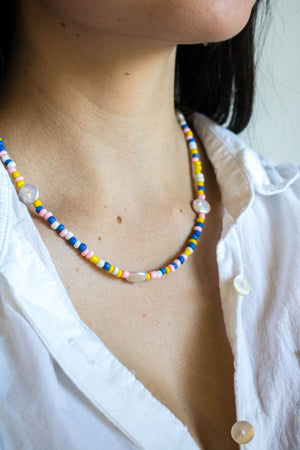 Colorful Seed + Pearl Necklace | danielajanette.com