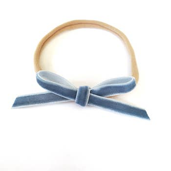 The Tiny Bow Shop - Ocean Blue Velvet Itty Bitty Hair Bow