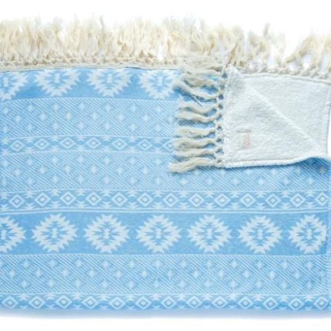 Soft Fringe Blanket - Aztec Blue