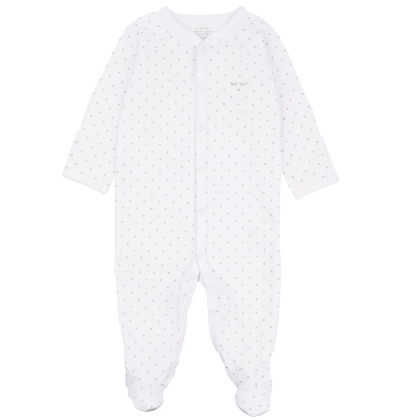 Livly Saturday Simplicity Footie - White / Silver Dots