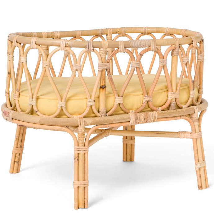 Poppie Toys Rattan Baby Doll Crib - Yellow