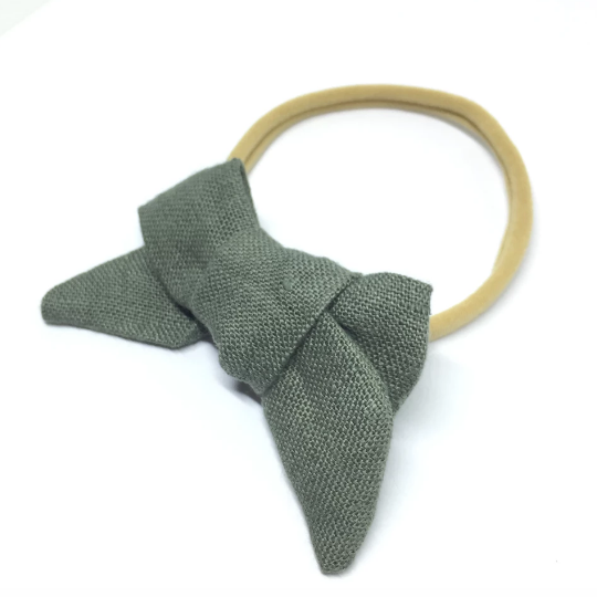 The Tiny Bow Shop - Linen Chunky Hair Bow - Multiple Colors