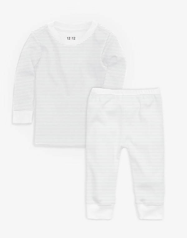 1212 Grey Stripe Organic PJ Set