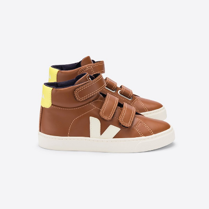 VEJA High Top Leather Sneakers - Tan/Neon Yellow