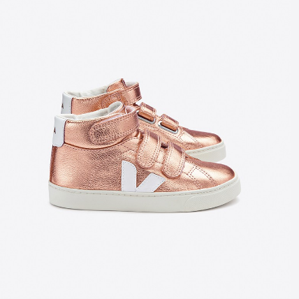 VEJA High Top Metallic Leather Sneakers - Pink/White