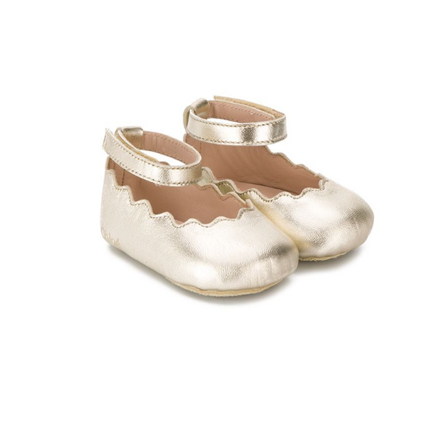Chloe Kids Scalloped Ballerina Shoes