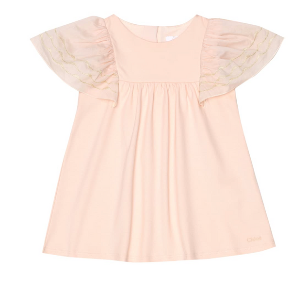 Chloe Kids Pink Dress With Embroidered Sleeves