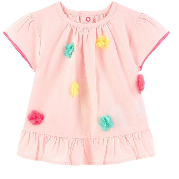 Billieblush Baby Cotton Top With Pom Poms