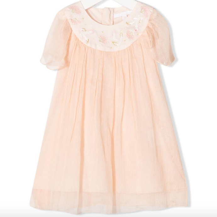 Chloe Kids Embroidered Silk Dress