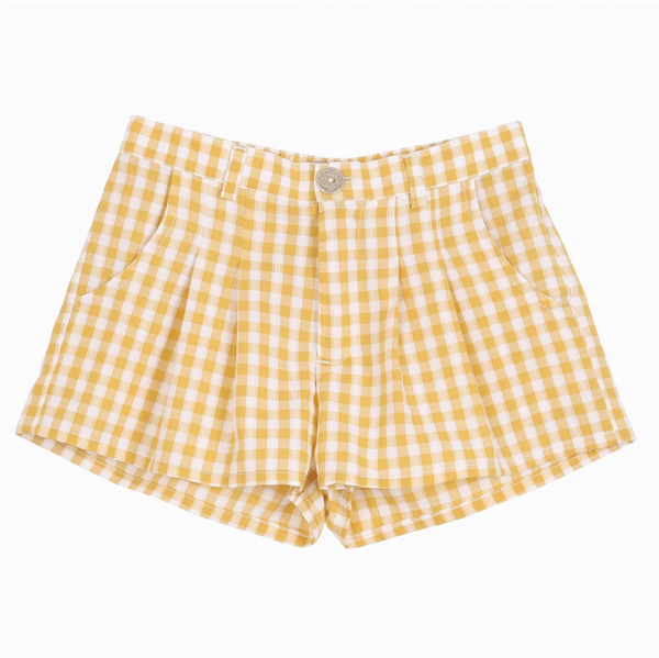 Emile Et Ida Yellow Gingham Short