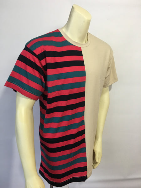 FUTURE FREEK Half trop stripe half beige tee