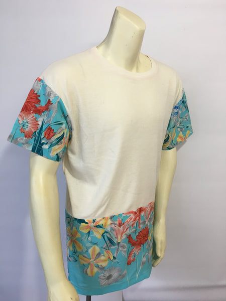 FUTURE FREEK floral silk trim tee
