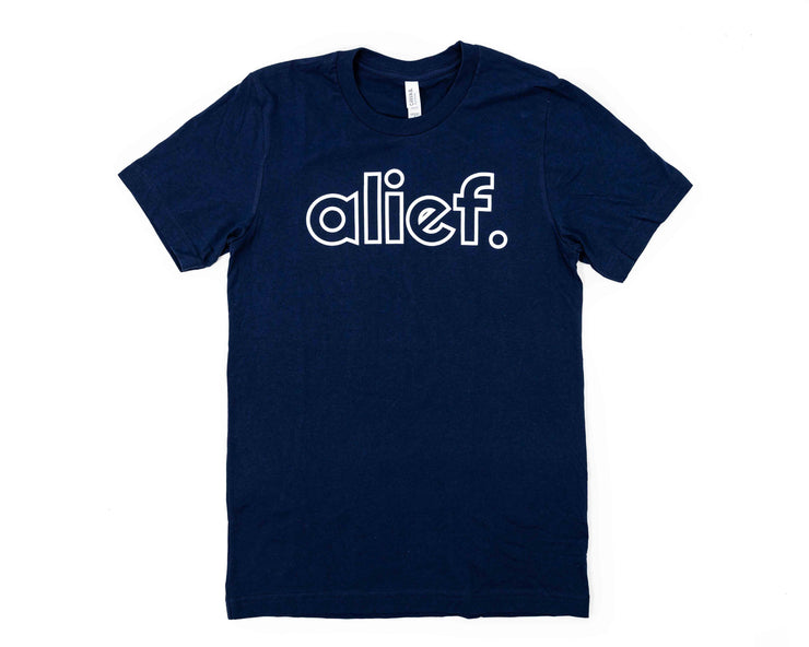 Alief Open Face Logo Tee - Navy Blue