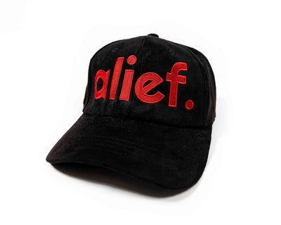 Bold Red Alief Dad Hat Front and Back