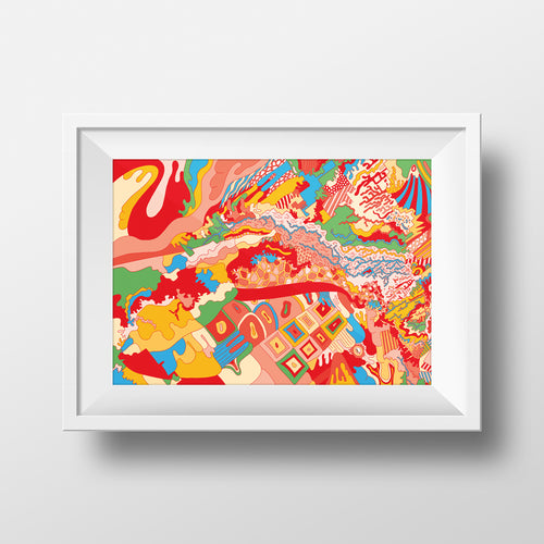 cool awesome map drawing shepparton colourful art illustration print design